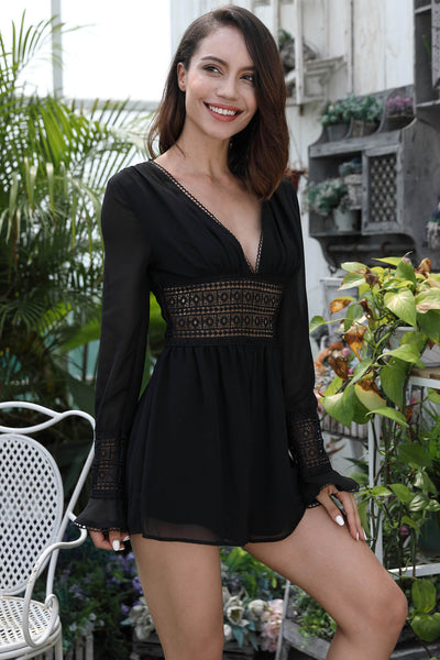 Chiffon Deep V Neck Hollow Out Romper