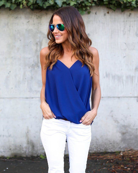 Chiffon cross V neck Top