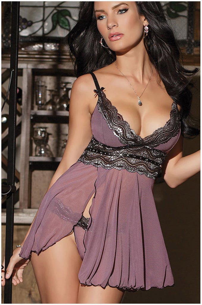Dark Purple Lace Sexy Lady Chemise And G-string Babydoll