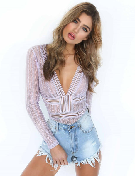 Deep V Neck Lace See-through Jumpsuit