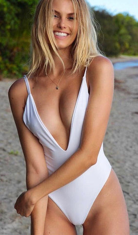 Deep V Neck One Piece Bikini