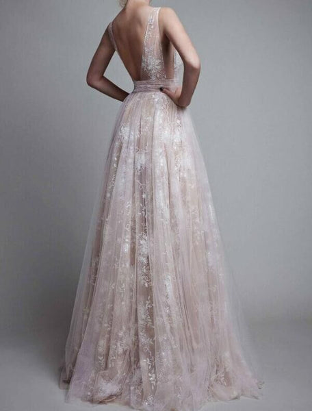 Deep V Neck Tulle Backless Maxi Dress