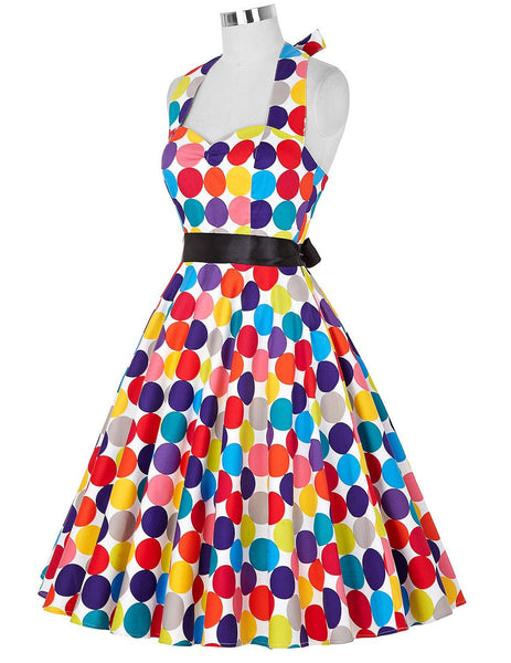 Dots Print Halter Dress