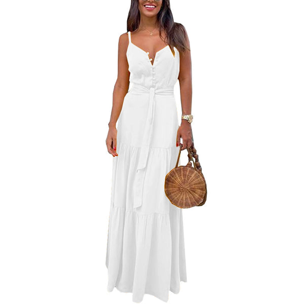 Front Buttons Maxi Dress