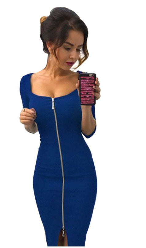 Front Zipper Bodycon Dress