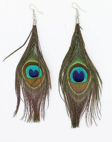 Green Faux Peacock Feather Earrings