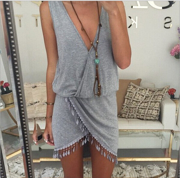 Asymmetric Hem Tassel V-Neck Dress