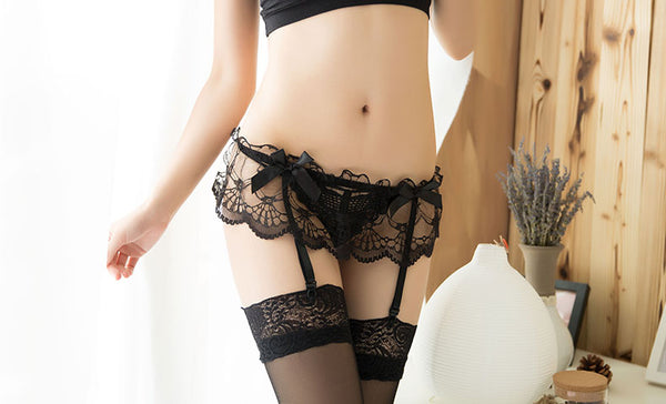 Lace G-string And Mesh Stockings Three Pieces Set