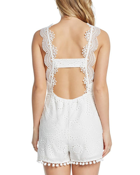 Lace Hollow Out V Neck Romper