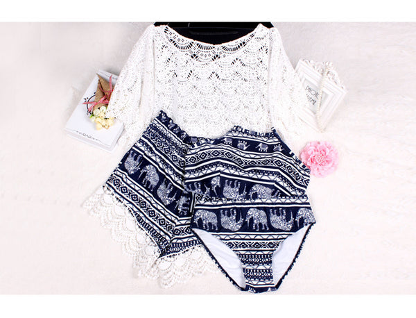 Lace Overall +Shorts +Bikini  4 Pieces Set