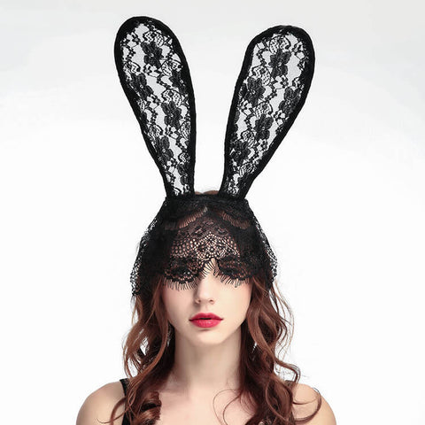 Lace Rabbit Ears Hair Band And Mask