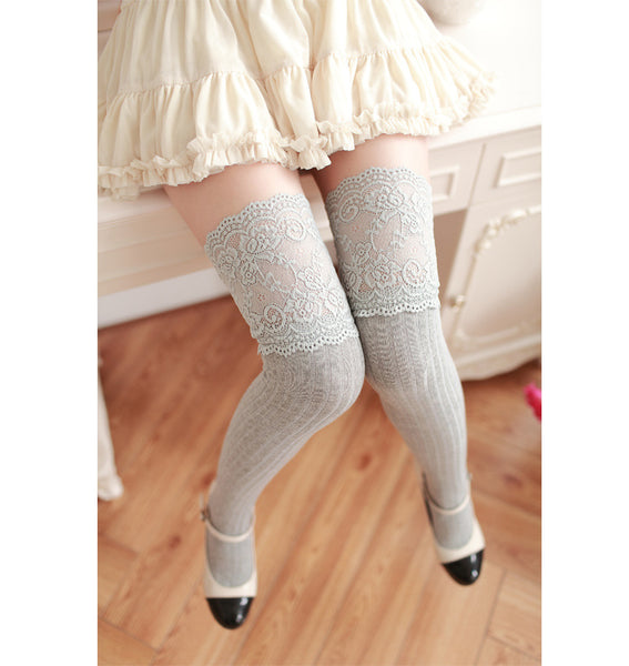 Lace Splicing Stockings