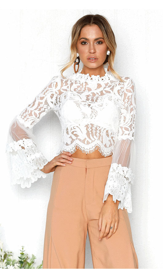 Lace Pagoda Sleeve Top