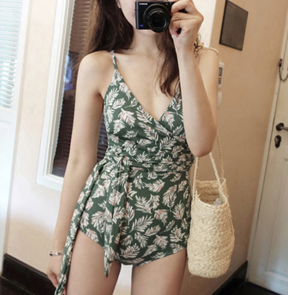 Leaves Print One Piece Swimsuit