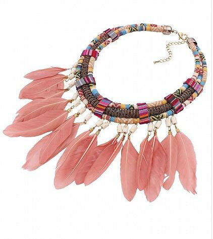 Multicolor Stone Embellished Feather Boho Necklace