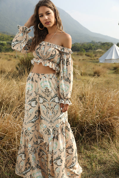 Off The Shoulder Floral Top And Trousers Two Pieces Set
