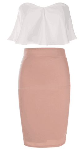 Romoti Strapless Chiffon White Top And Pink Skirt Two Pieces Set