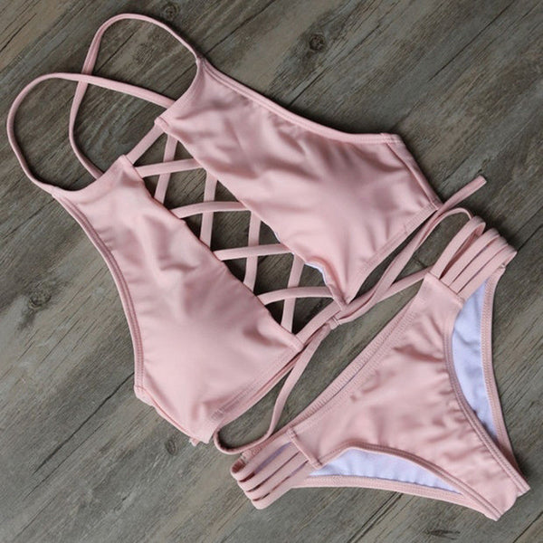 Pink Lace Up Bikini Set