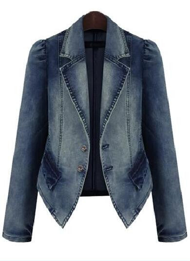 Plus Size Denim Lapel Jacket