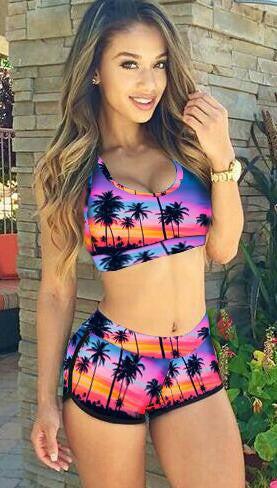 Purple Coconut Tree Print Bikini Set