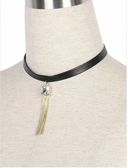 Black Crystal Embellished Tassell Necklace