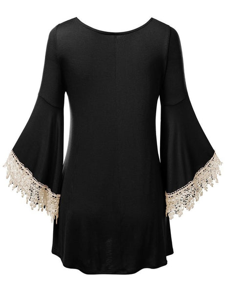 Romoti A Little Trumpet Sleeves Lace Splicing Dress