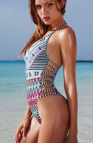 Romoti All About Diamond Halter One Piece Swimsuit
