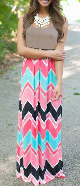 Romoti All Around The Wavy Stripe Maxi Dress