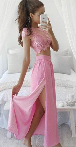 Romoti Always Been Mind Lace Slit Lace Top & Bra & Slit Skirt Three Pieces Set
