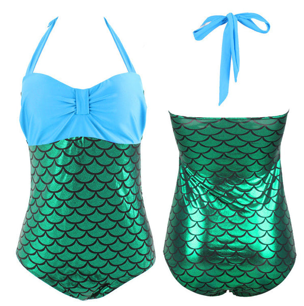 Romoti Big Szie Mermaid Halter One-piece Swimsuit