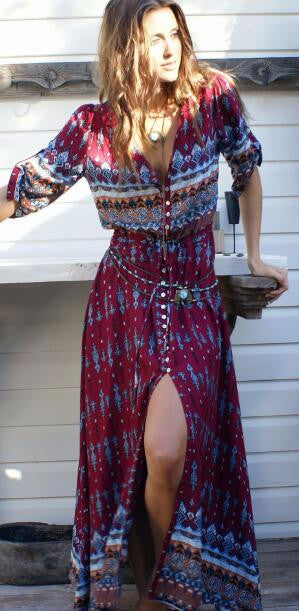 Best Holiday Boho Slit Maxi Dress