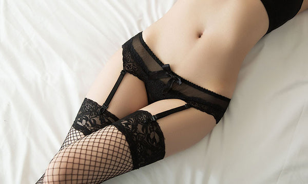 Romoti Black Lace Garter Panty &Mesh Stockings