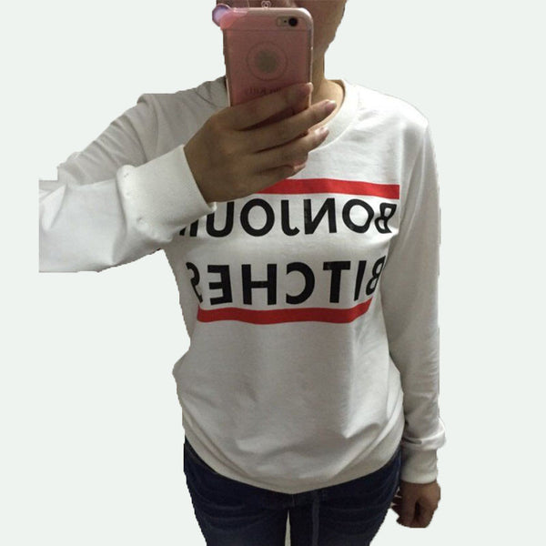 Romoti Bonjour Bitches Print Casual Sweatshirt