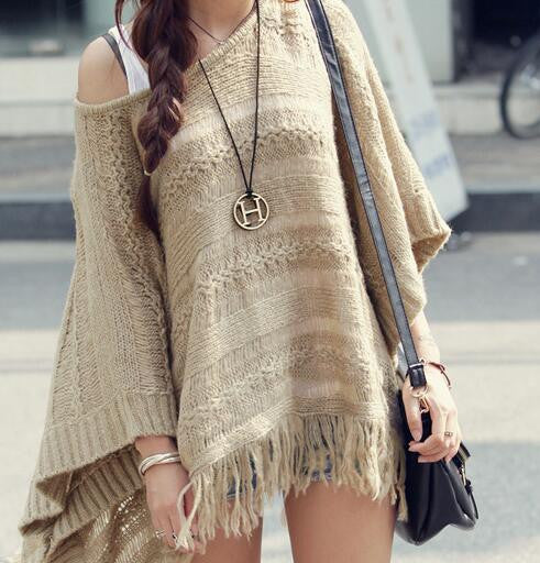Romoti Casual Khaki Knit Tassel Bat Sleeve Top