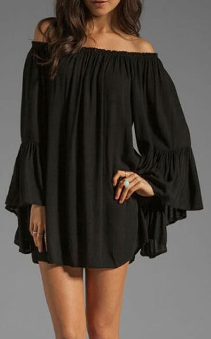 Romoti Chiffon Pagoda Sleeve Off The Shoulder Dress
