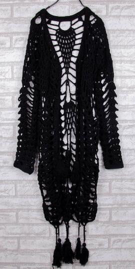 Romoti Cute Lady Crochet Hollow Tassel Cardigan