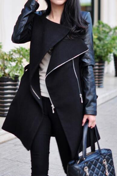 Romoti Cute Like You Leather Splicing Long Coat