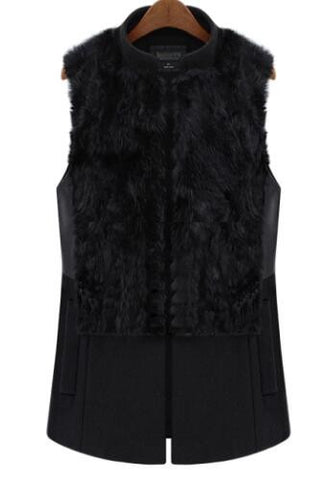Romoti Fashion Black Fur Jacket
