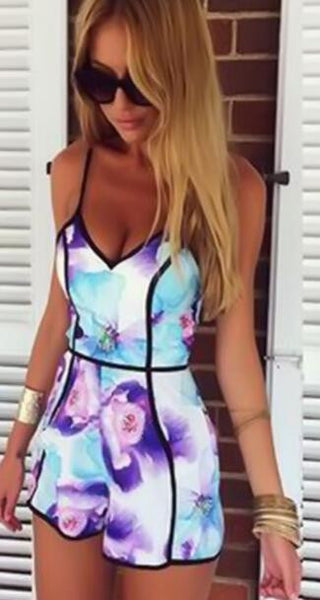 Romoti Flowers In Water Spaghetti Strap Floral Romper