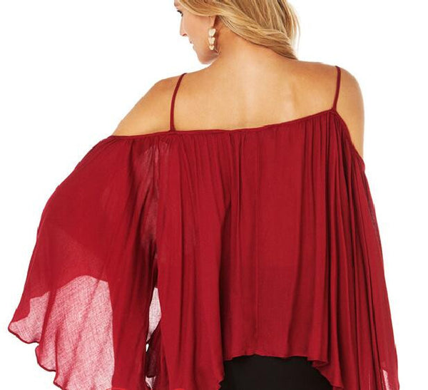 Romoti Fold Off The Shoulder Wine Red Top