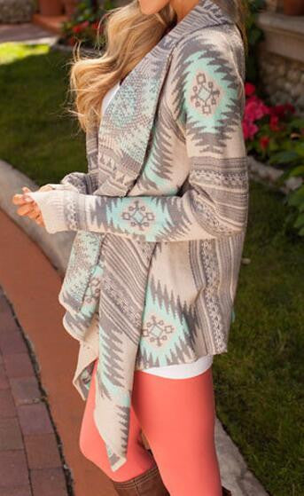 Romoti Geometric Patterns Irregular Sweater Cardigan