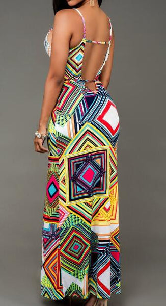 Romoti Geometric Patterns Slit Maxi Dress