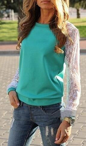 Romoti Get The Better Lace Splicing Sweatshirt
