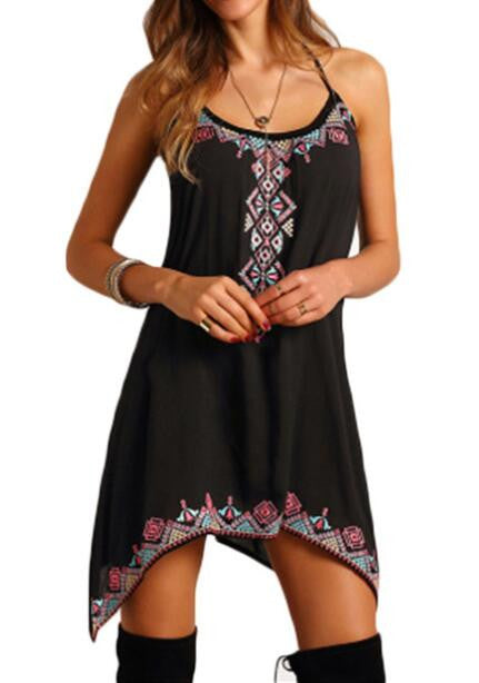 Romoti Great Life Black Irregular Floral Mini Dress