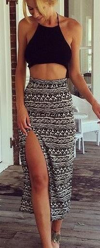 Romoti Halter Crop Top&Slit Skir Two Piece Maxi Dress