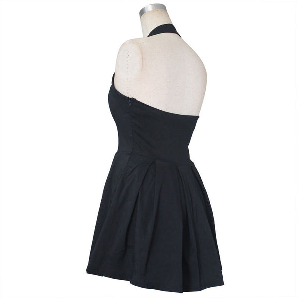 Romoti Halter Neck Ruffle A Line Dress