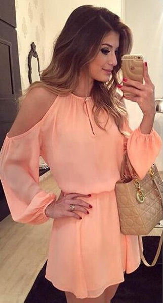 Romoti Have A Good Time Chiffon Long Sleeve Dress