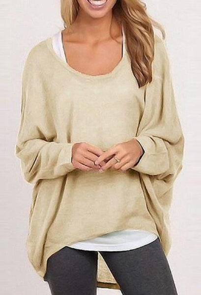 Romoti Have Fun Knit Round Neck Oversized Top