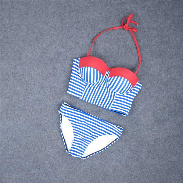 Romoti Hear The Waves Blue Stripe Bikini Set