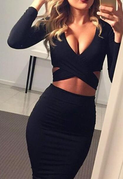 Cross Long Sleeve Bodycon Dress